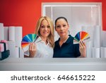 two young woman working in... | Shutterstock . vector #646615222