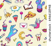 seamless pattern with retro... | Shutterstock .eps vector #646618948