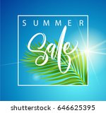 sale banner  poster with palm... | Shutterstock .eps vector #646625395