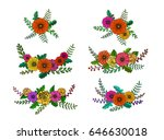 a set of hand drawn floral... | Shutterstock .eps vector #646630018