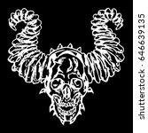 skull of a demon with horns.... | Shutterstock .eps vector #646639135