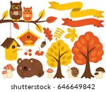 vector autumn forest set with... | Shutterstock .eps vector #646649842