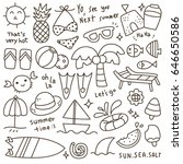 set of cute summer time doodle | Shutterstock .eps vector #646650586