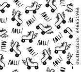 roller skates seamless pattern | Shutterstock .eps vector #646651966