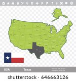 usa texas state map and flag...   Shutterstock .eps vector #646663126