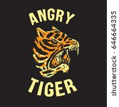 angry tiger head hand drawing... | Shutterstock .eps vector #646664335