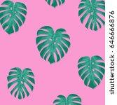 tropical palm leaves. monstera... | Shutterstock .eps vector #646666876