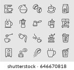 coffee set line icon | Shutterstock .eps vector #646670818