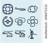set of 9 rotate outline icons... | Shutterstock .eps vector #646671112
