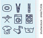 Set Of 9 Washing Outline Icons...