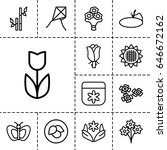 floral icon. set of 13 outline... | Shutterstock .eps vector #646672162