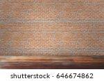 red bricks wall old wooden... | Shutterstock . vector #646674862