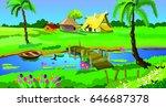 river landscape  a river is... | Shutterstock . vector #646687378