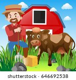 farmer and cow in farmyard... | Shutterstock .eps vector #646692538
