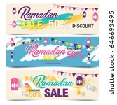 colorful ramadan sale banner... | Shutterstock .eps vector #646693495