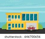 flat residential house. vector... | Shutterstock .eps vector #646700656
