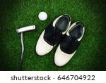 golf ball with shoe and putter... | Shutterstock . vector #646704922