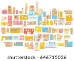 city  houses  near east  arabic ... | Shutterstock .eps vector #646715026