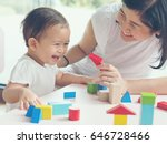 asian mom and girl kid playing... | Shutterstock . vector #646728466