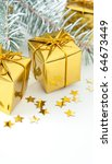 cute gold and red wrapped... | Shutterstock . vector #64673449
