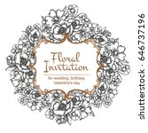 invitation with floral... | Shutterstock . vector #646737196