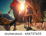 hikers with backpacks walk on... | Shutterstock . vector #646737655