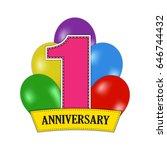 1 year anniversary celebration... | Shutterstock .eps vector #646744432