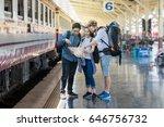 multiethnic travelers are... | Shutterstock . vector #646756732