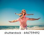 happy family on the beach.... | Shutterstock . vector #646759492
