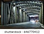 asphalt road under the steel... | Shutterstock . vector #646770412
