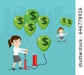 businesswoman pumping air money ... | Shutterstock .eps vector #646778926