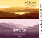 set of mountain landscapes.... | Shutterstock .eps vector #646792396
