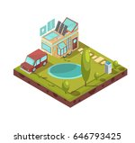 campsite and mobile house with... | Shutterstock .eps vector #646793425