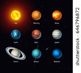 vector set of solar system... | Shutterstock .eps vector #646796872