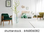open bedroom with white wall ... | Shutterstock . vector #646806082