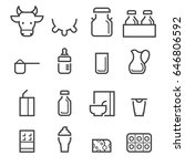 dairy products thin line icons | Shutterstock .eps vector #646806592