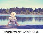 enjoy summer time  mature woman ... | Shutterstock . vector #646818358