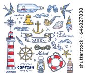 sailor hand drawn elements.... | Shutterstock .eps vector #646827838