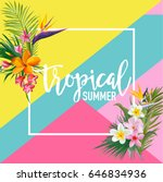 Stock vector tropical flowers and palms summer banner graphic background exotic floral invitation flyer or 646834936