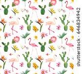 tropical seamless vector floral ... | Shutterstock .eps vector #646834942