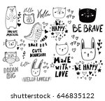 Stock vector collection of cute funny doodles with dinosaurs owls cats and hearts baby design 646835122