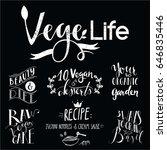 lettering  vegetarian  hand... | Shutterstock .eps vector #646835446