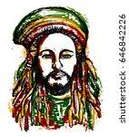 portrait of rastaman. jamaica... | Shutterstock .eps vector #646842226