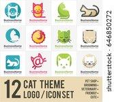 cat logo icon bundle   Shutterstock .eps vector #646850272
