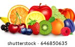 fresh fruit in basket   apple ... | Shutterstock .eps vector #646850635