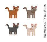 cartoon cats set. simple flat... | Shutterstock .eps vector #646851325