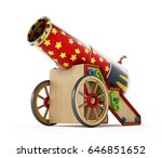 Circus Cannon Isolated On Whit...
