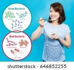 young woman who eats yogurt ... | Shutterstock . vector #646852255