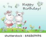 boy and girl hippopotamuses.... | Shutterstock .eps vector #646869496