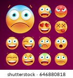 set of cute emoticons on black... | Shutterstock .eps vector #646880818